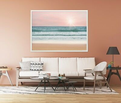 3D Beach Pink Sunset  8 Framed Poster Home Decor Print Painting Art AJ WALLPAPER