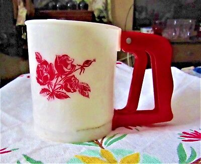 Popeil Brothers Chicago Lustro Ware Red Rose Plastic Kitchen Flour Sifter 1950s