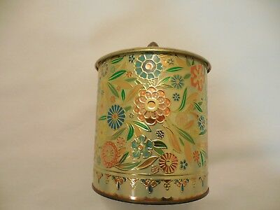Daher, Raised texture Floral Metal Container with Lid, Made in England