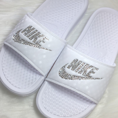 3adb9e9c2437 Nike Slides Custom with Swarovski Crystals- Sandals~ Bedazzled GLITTER Nike  JDI