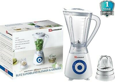 Electric Multi Food Blender & Grinder Smoothie Processor Pulse 2 In1 400W BLUE