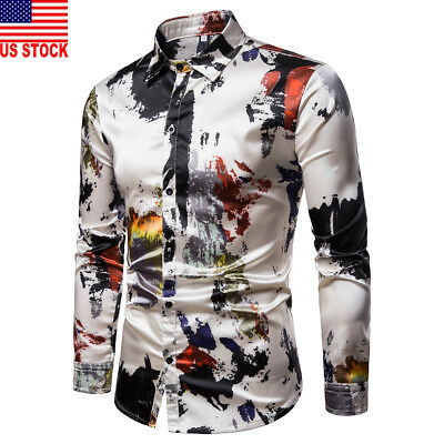 Mens Luxury Casual Stylish Slim Fit Long Sleeve Floral Formal Dress Shirts Tops