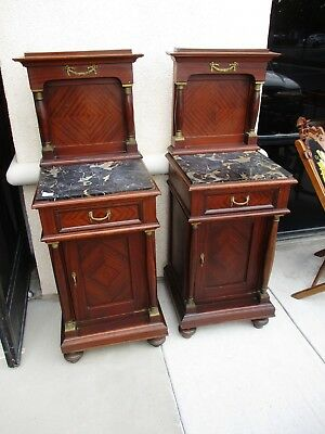 Continental Empire Revival Mahogany Pr Of Nightstands W/ Columns & Marble