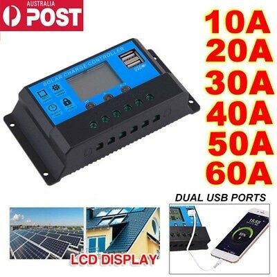 10A -60A PWM Solar Panel Battery Regulator Charge Controller LCD Display 12V/24V