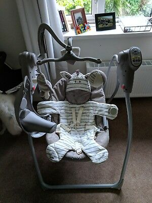 Graco electric battery operated baby rocker in grey (used)