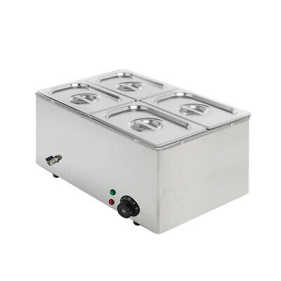 2019 NEW Commercial Electric Stainless Steel Bain Marie With 4 Pans & Lids CC