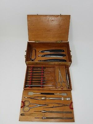 Rare Multilevel Ebony Instruments Antique Microscope Slide Preparation Set