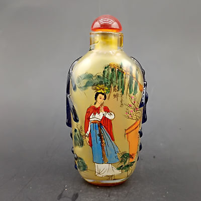 Chinese Exquisite Handmade Beauty Pattern glass snuff bottle