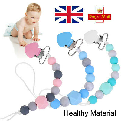 Baby Silicone Teething Soother Dummy Clip Pacifier Chains Beads Heart Clips UK