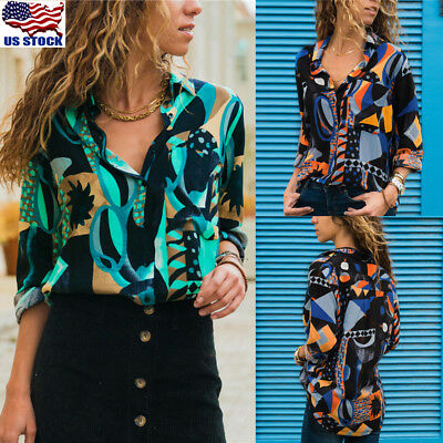 Womens BOHO Long Sleeve V-neck Loose Tops T Shirt OL Ladies Casual Button Blouse