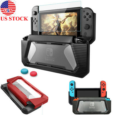 US Hybrid Case for Nintendo Switch Rugged Rubberized Snap Hard Cover TPU Glass