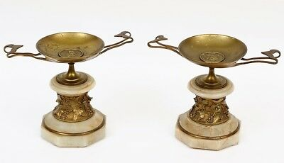 Pair Antique Continental Gold Gilt Bronze Tazza w/ Onyx