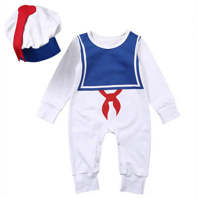Newborn Infant Baby Boys Girls Sailor Romper Bodysuit One-piece Jumpsuit Outfits