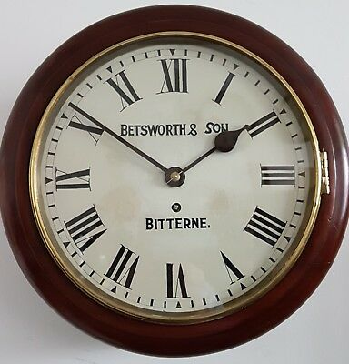 """Early 1900s Mahogany 12"""" Fusee School Clock by W. Betsworth of Bitterne restored"""