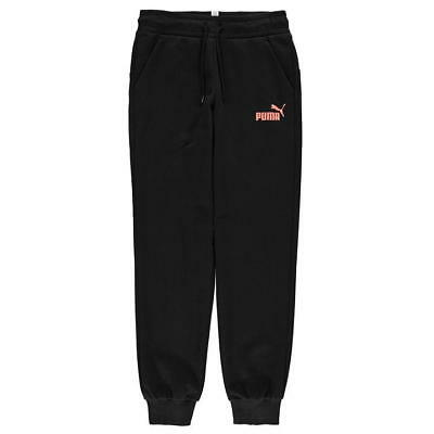 Puma Logo Print Jogging Pants Junior Girls Black