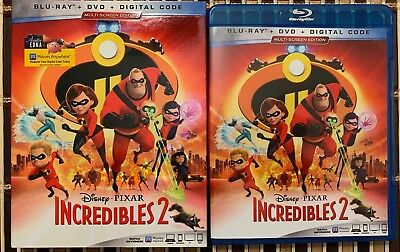 Disney Pixar Incredibles 2 Blu Ray Dvd 3 Disc Set + Slipcover Sleeve Free Shipin