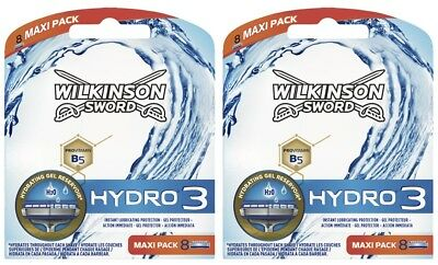 Wilkinson Sword Hydro 3 Razor Blades 2 x 8 Packs Mens Shaving Genuine 16 Refills