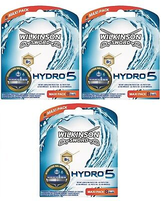 Wilkinson Sword Hydro 5 Razor Blades 3 x 8 Packs Mens Shaving Genuine 24 Refills