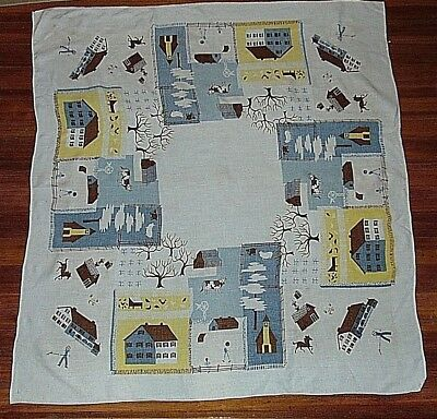 Linen Tablecloth Leacock RFD Farm Scenes Barns Vintage