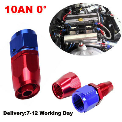 Universal 10AN -10 Straight Swivel Oil Fuel Adapter Red/Blue Hose End Fitting