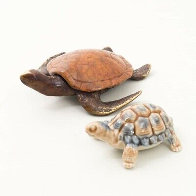 """Collectible Turtle Figurines: SPI Brass 4.5"""" and Ceramic Wade Blue Tortoise 3"""""""