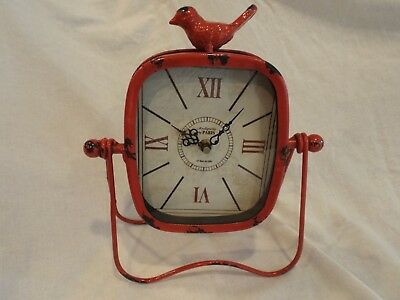 """New  - Distressed  Looking """"antique Metal Clock"""" Battery Operated -  Red W/black"""