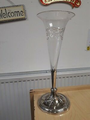 Victorian Glass Fluted Vase On Nickel Plated Base H27cm