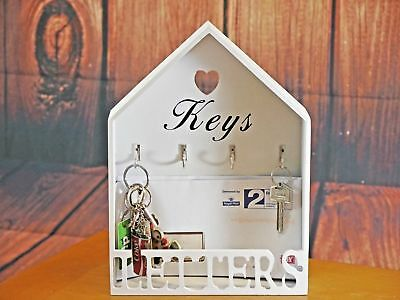 Rustic Heart Shabby Chic Letter Rack & Key Hook Vintage Style Wall Mountable 365