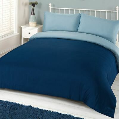 Brentfords Plain Navy Duvet Cover with Pillowcase Reversible Blue Bedding Set