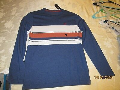 Hollister long sleeve men's size small shirt, NEW, blue with stripes