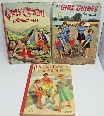 3 1945/61 Annuals 1961 Girl Guilds, Ideal Book for Girls & 1959 Crystall  (2113)