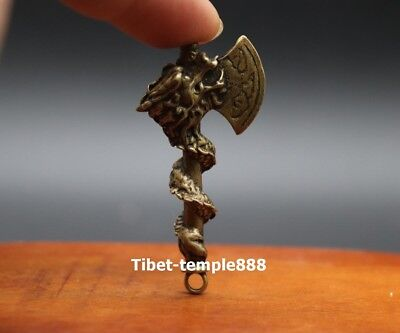 6 CM Chinese Pure Bronze Dragon axe Counteract Evil Force Animal Amulet Pendant