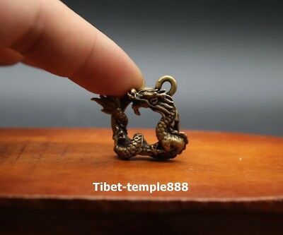3 CM China pure Bronze Counteract Evil Force Zodiac Animal Dragon Amulet Pendant