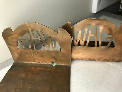Vintage Arts and Crafts Copper bookends with Initials / Letters