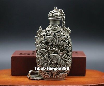 15 CM Chinese miao silver Hollowed-out bottle Lotus carp Fish Amulet Pendants