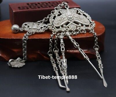 33 CM China miao silver butterfly Wealth Bat Small bell Five tool Amulet Pendant