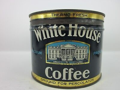 """White House Coffee Tin Can1lb Boston Chicago Portsmouth 4"""" Tall Key Wind"""