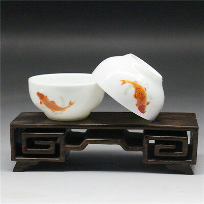 2 Pcs Chinese Blue and white Porcelain painted fish Gongfu Sample Tea cups