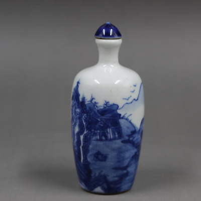 84MM Chinese Blue and White Porcelain Mountain Water Landscape Snuff Bottle