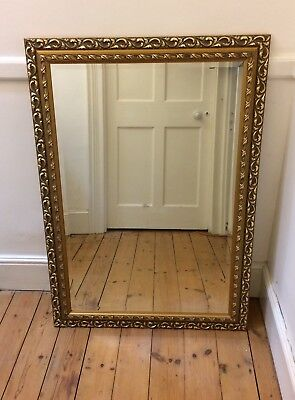 Large wall / overmantle mirror antique style gilt frame bevelled glass 105x74cm