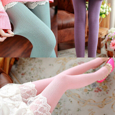 Women Winter Cable Knit Sweater Footed Tights Warm Stretch Stockings Pantyhose E