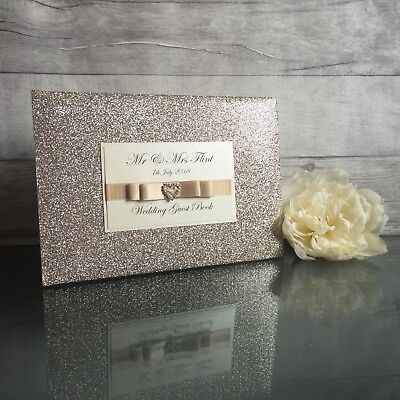 Personalised Champagne Glitter Wedding Engagement Anniversary Guest Book