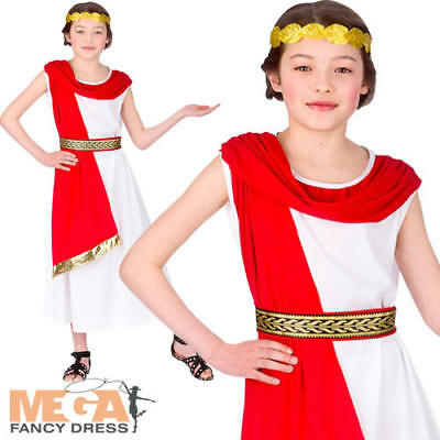 Roman Girls Fancy Dress Childs Historical Ancient Rome Kids Grecian Day Costume
