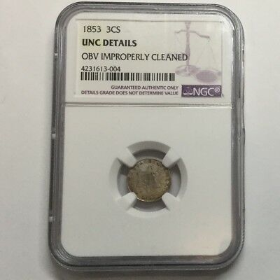 1853 3CS Silver Three Cents NGC UNC Details #