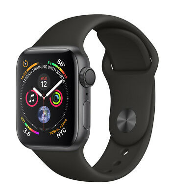 Apple Watch Series 4 44 mm Space Gray Aluminum Case with Black Sport Band (GPS)