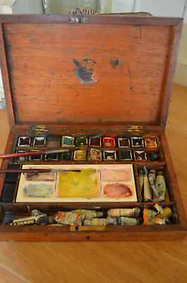 VERY OLD Artists Paint Palette Brushes Original Old Wooden Wood Teak Box Display