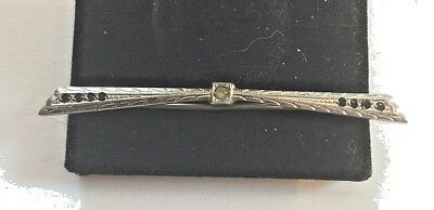 Antique-Vintage-Art-Deco-Sterling-Silver-Bar Pin With Blue Stones