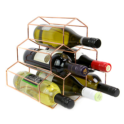 Rose Gold Wine Rack | Free Standing 6 Bottle Hexagon Shelf Design Stand | M&W