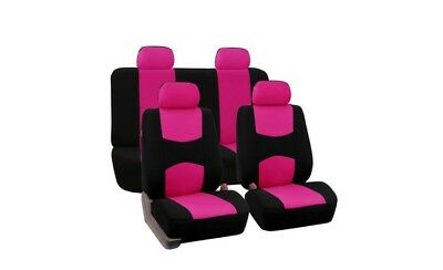 FH Group Universal Flat Cloth Fabric Full Set Car Seat Cover Pink& Black