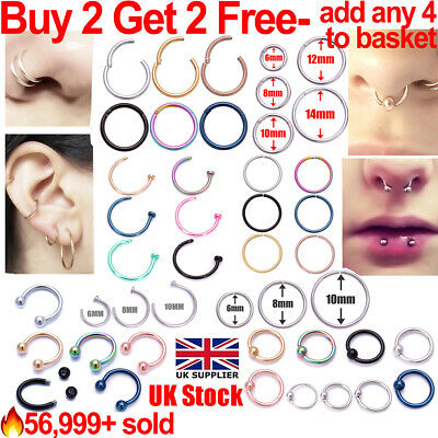 Nose Ring Nose Lip Hoop Cartilage Tragus Helix Ear Piercing Surgical Steel Rings